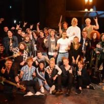 Sunderland students celebrate arts grant by jamming with stars of American Idiot